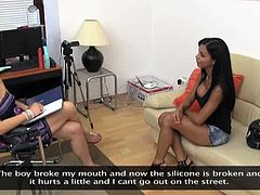 Two horny girls make an amazing lesbian show at the casting. Latin girl undresses and gets toyed by another chick.