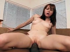 Check out,How this naughty brunette sucks a massive black dick before she gets banged from behind,Lucky black dude fucked her pink tight hard with his huge cock.
