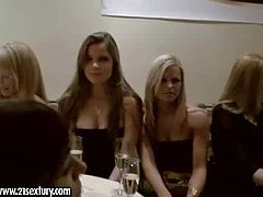 Sandy, Eve Angel, Wivien, Sandra and Peaches enjoy in going to the restaurant together for a luxurious dinner and have fun in playing with each others boobs at the table