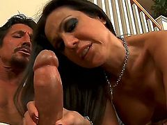 Tommy Gunn plays with wet vagina of Amy Fisher with massive knockers and smooth beaver before he fucks her hard