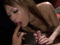 You are welcome here to be pleased with one another hussy oriental babe which is ready to polish your ass hole all night long.She tickles his anus with her playful tong and after gives him eager blowjob.