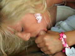 Dream July is a tender blonde girl dressed in white that loves to suck. She gievs nice blowjob to her fuck buddy before she strips to show her perky tits. Dream July is a natural born cock sucker.
