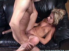 See a naughty blonde wife getting her pussy drilled  by a stranger in front of her husband. Then she's ready for her ass to be banged balls deep into a massive anal orgasm.