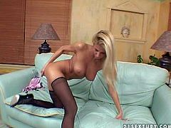 Clara G is a smoking hot blonde babe with long legs and big tits. Hot lady in black stockings shows off her killer body and fucks her cunt like crazy with her fingers. Watch sexy bodied Clara G masturbate!