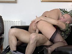 This British pale slut is fond of tough doggy fuck. Horny housewife never miss a chance to get her mature cunt polished properly. Spoiled nympho with pale ass bends over the floor and looks at her reflection in the mirror while being banged doggy rough.