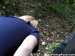 Filthy blond hoe cloisters deep in the wood with two horny dudes to give them double blowjob before one of them pokes her from the front in standing position and finally splatters her face with sperm.