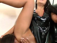 Irresistibly hot harlot Asa Akira has fire in her eyes as she gets her muff fingered by lesbian Leilani Leeane