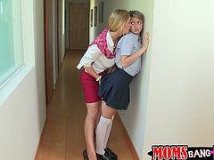 She is hawt insatiable lesbian which is fond of sweet looking girls and their juicy slits. She seduces one of her student girls and makes love with her on the bed.