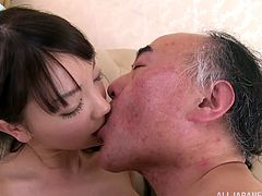 Her tickling tongue does so many things in this Japanese porn. Babe gives him a nice head and then gets him a heart attack, driving him into a sexual passion!
