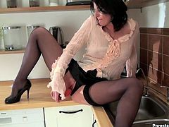 Spoiled brunette housewife goes solo today. This voracious for pleasure chick doesn't even get rid of her office suit and blouse. She just takes a dildo out of the drawer. Ardent wanker with nice tits stretches legs wide and polishes her cunt with a sex toy passionately. Just check her out in Tainster sex clip to jerk off and jizz at once.