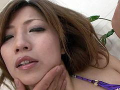 Alluring Japanese milf gets her big round tits oral caressed by insatiable dudes before they get to her hairy pussy for a finger fuck until she squirts in sizzling hot threesome sex video by Jav HD.