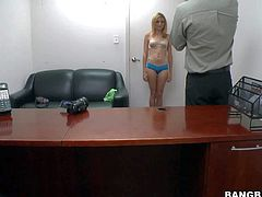Karmen Blaze is one tight bodied teen cutie next door. Blond-haired chick with small boobs strips down to her bare skin and gives interview in front of the camera at porn casting. Watch and enjoy!