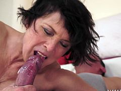 Salacious brunette granny Margo T. is having fun with some guy on the poolside. She pleases the man with a blowjob and then takes a ride on his stone-hard manhood.