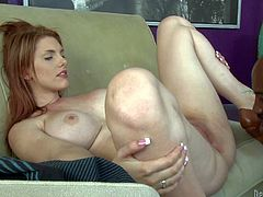 Big breasted redhead Lilith Lust spreads her legs wide and nice on the couch for Wesley Pipes. He licks her snatch and makes his big rod disappear in her vagina in interracial hardcore action.
