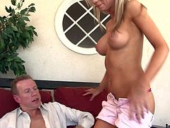 Kaylee Hilton is a sweet young blonde with sexy big tits and fuckable mouth. She gives blowjob to her best friends daddy.S eh eats his stiff mature cock wit wild desire and then displays her boobs.