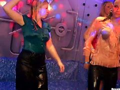 During an insane group sex orgy, group of drunk and shabby white milfs get into a pool right in their clothes to rub over each other during a steamy dance in group sex video by Tainster.