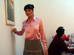 Strict looking teacher parties hard with her rapacious students before they lure her to steamy gangbang sex where she has to oral fuck them in turns while getting pounded from behind.