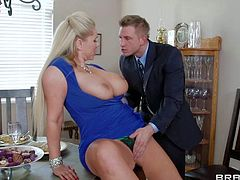 Heavy chested blonde milf Karen Fisher enjoys in getting a hot visit from the school teacher Bill Bailey and gets her shaved pussy licked on the kitchen table