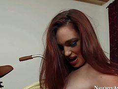 Young smoking hot redhead slut Jodi Taylor with small boobies and round delicious oiled bums gives lusty blowjob to Bill Bailey and rides on his hard cannon on the floor