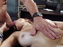 Pretty rebellious brunette schoolgirl Lily Love with nice natural boobs in ripped fishnet pantyhose seduces her teacher Tommy Gunn with perfectly shaped body and sucks his cock in classroom