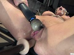 Hot brunette Beverly Hills is having fun with Lorelei Lee indoors. Lorelei binds and beats Beverly and then fucks her coochie with a few toys.