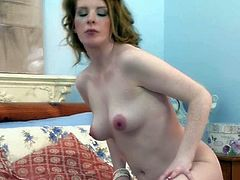 Nicole Hart is a lovely pale skinned babe with pink nipples and pussy. She takes off her panties and then opens her long legs to play with her twat in the middle of the bed. Watch her make herself happy.