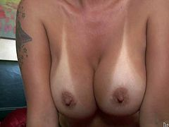 Naked mature blonde Sophia Mounds poses naked and shows off her sexy body. She exposes her tanlined boobs and hairless pussy before she takes rock solid cock in her many times used mouth.