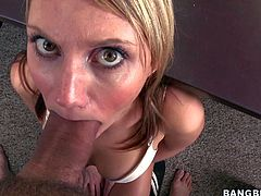 Jordan Denae is a fair-haired lovely babe that loves meaty hard cock. This pantyless blonde in white bra gets face fucked by thick dicked guy in front of the camera and then plays with her snatch.