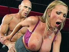 Busty blonde enjoys hard cock fucking her very hard during impressive hardcore