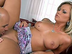 Blonde Sunny Diamond demonstrates her naughty bits as she gets her sweet banged hard and deep by horny as hell guy