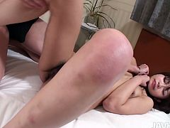 Well, this slim Japanese brunette with droopy tits is already naked. Submissive nympho lies onto her back, stretches legs and opens too hairy pussy, which must be eaten and tickled at once.
