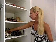 Hot and arousing blonde pornstar Sandy enjoys in showing around her house and her show closet, revealing her big and delicious melons in front of the camera the whole time