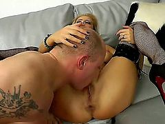 Brunette Candy Alexa with big jugs spends her sexual energy with hard love stick in action