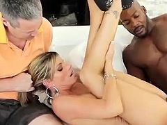 Check out this hardcore scene where this cuckold guy watches his wife being nailed by a big black cock until he face's covered by cum.