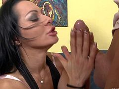 Raven haired woman Sandra Romain in sexy short black dress and stockings gives blowjob to mature man Christoph Clark and shows off her big bottom. Sandra Romain does oral job like a pro!
