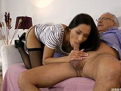 Curvaceous raven haired vixen Cypriana takes it up her snatch doggystyle. She gets really horny and treats her old cowboy with great blowjob.