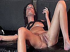 Horny amateur wife loves having her huge cunt fisted till she squirts torrents of piss in orgasm