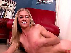 Blonde Bella Bends with tiny tities and bald twat gets down all by herself