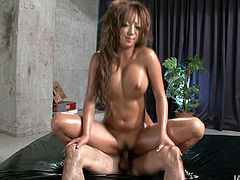 Erotic massage turns into a tough fuck with bright tanned Japanese slut. Light haired whore with nice butt sucks two hot dicks passionately for sperm. Riding a dick is what perverted nympho needs to reach orgasm at once.