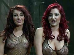 Red head gals inside Fishnet Suits Are having made love By Isis
