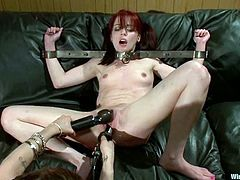 This delightful redhead babe Jessi Palmer gets naked with Princess Donna Dolore. She is going to be yoke bared and then wired deep in her wet twat!