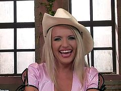 Naughty young looking blonde with nice hooters and long sexy legs in short skirt and shirt talks about her wet solo fantasy at the interview filmed in point of view