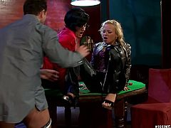 Perverse dude watches two steamy milfs in seductive lingerie and stockings pissing on them while sitting at the poker table before they oral fuck his perky dick simultaneously. Later he pisses on them too before they proceed to giving each other tongue fuck in sizzling hot threesome sex video by Tainster.