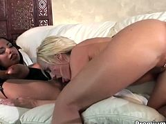 White and black luscious babes in seductive lingerie and stockings poke each other's delicious cunts with dildo before they give double blowjob to aroused dude. Later they get fucked in turns while giving tongue fuck to each other in peppering threesome sex video by Premium HDV.