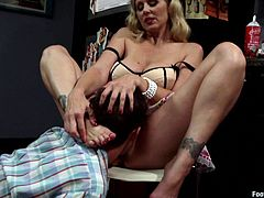 Dominant Makes Guy Worship Her Feet Before Riding Him