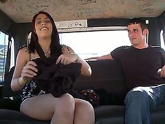 Here is the new action from the bang bus. And now we could meet magnetic brunette hottie Maria. The man is seducing this stunning Latina babe to have fuck in the bus!