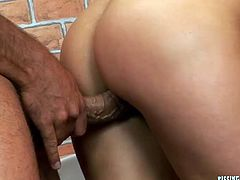 Divine blond bitch gets fucked in doggy style through glory hole