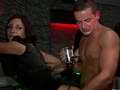 The video starts with lesbians having passionate sex on a stage. Then, the spotlight is on a hussy brunette jade that is hammered hard from behind.
