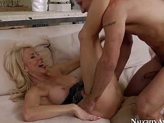 Horny and aroused blonde milf with big boobs Erica Lauren enjoys in seducing her young neighbor Mr. Pete and getting her shaved pussy slammed hard on the bed in bedroom