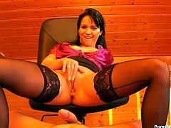 Tonight spoiled brunette secretary gonna realize her perverted dreams. Kinky slim bitch with natural tits rides a dick like a mad one. Then this nympho in stockings enjoys pissing golden shower and gets ready to be hammered doggy tough. Do you still hesitate to check this nympho out in Tainster sex clip?